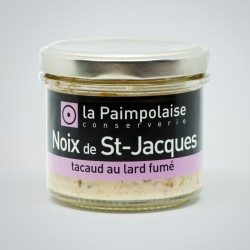 Seafood pâtés of king scallops, pout and smoked bacon 80g. / 2,8 oz.