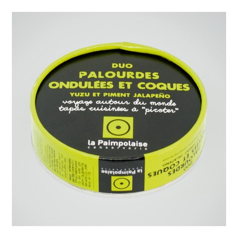 DUO DE PALOURDES ONDULEES ET COQUES, YUZU ET PIMENT JALAPENO (TAPAS 100g)